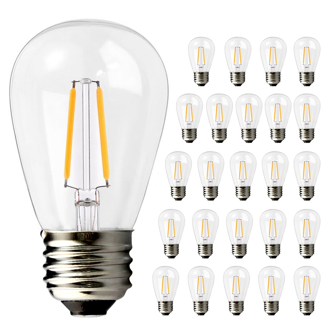Brimax 2w S14 Led Filament Light Bulbs For Commercial Outdoor Incandescent Bulb Diagram Free Download Wiring String Lights E26 Base 2700k Warm White Dimmable 11w 20w 11s14 Edison