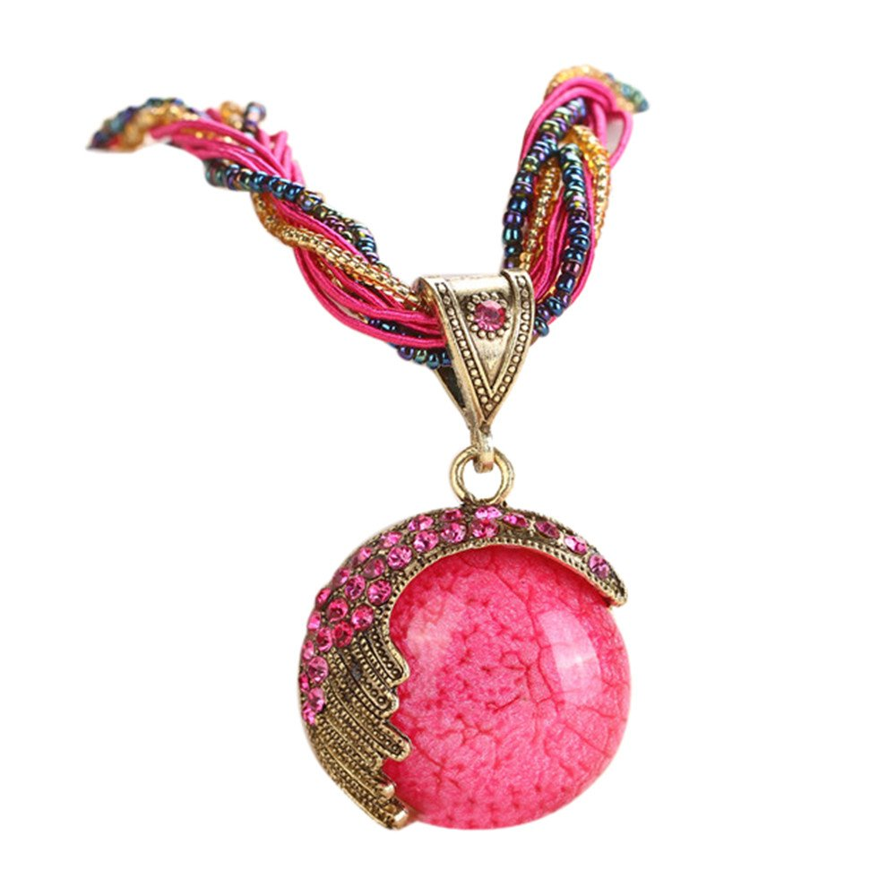 Vintage Bohemian Collar Statement Crystal Peacock Pendant Necklace with Opal Gem Birthstone Jewelry for Women (Hot Pink)