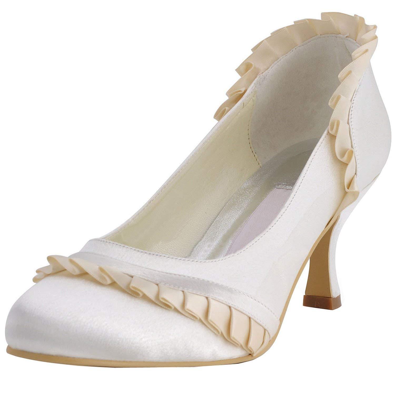 Qiusa GYMZ686 Damen Rüschen Satin Abend Party Prom Braut Hochzeit Schuhe Pumps Sandalen Flatfs (Farbe   Ivory-6.5cm Heel Größe   5 UK)