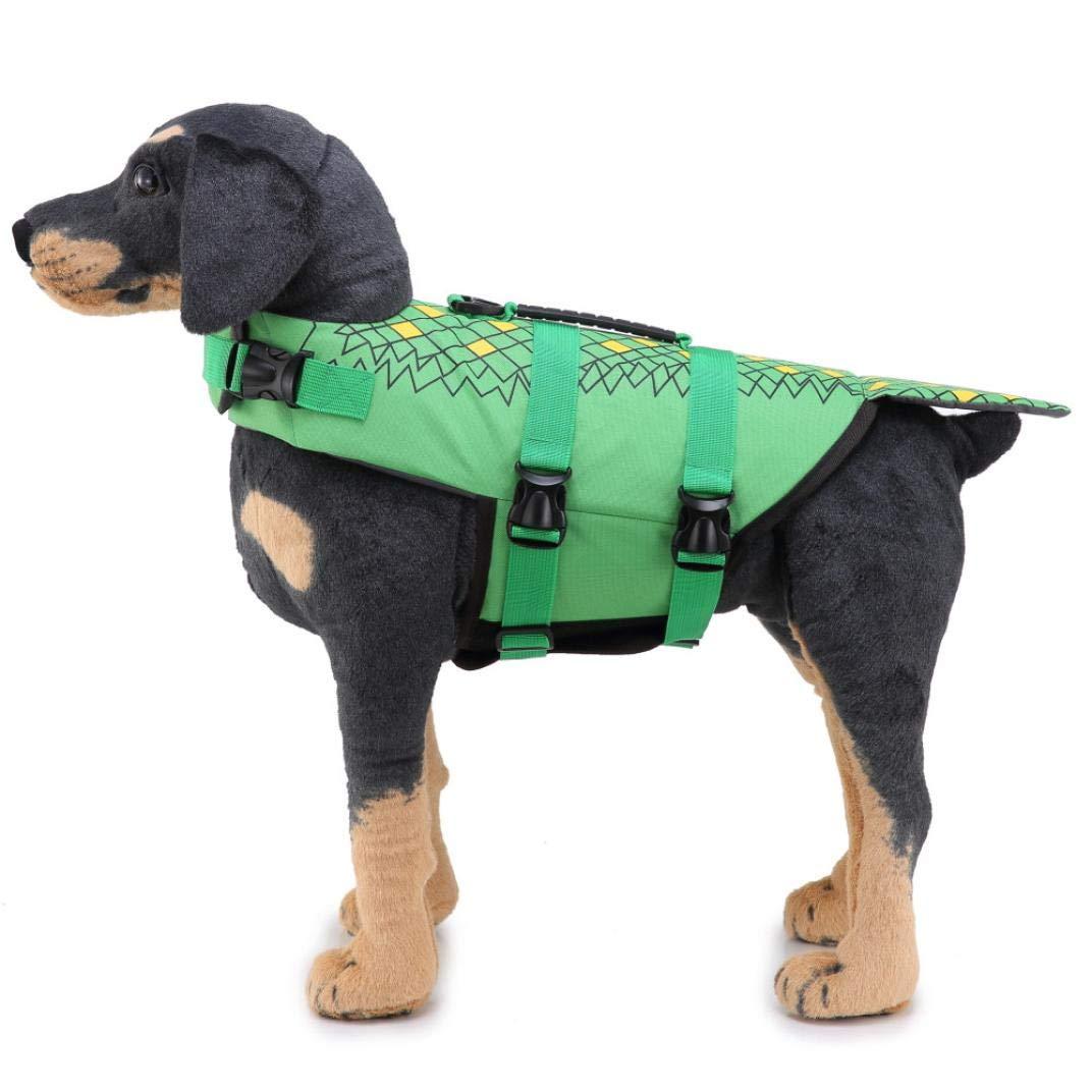 DICPOLIA Pet Supplies Large Dog Life Jacket Fish Style Floatation Vest Adjustable Soft Rubber Vest Dog Puppy Costumes (M, Green)