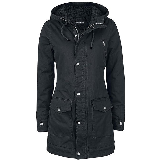 410df67f8f26e4 Dressation parka da donna invernale con cappuccio, caldo e lungo, con  tasche Black Large: Amazon.it: Abbigliamento