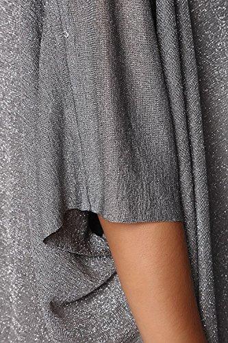 Q2 Mujer Jersey asimetrico de punto de lurex gris