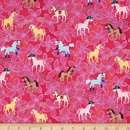 (Michael Miller Novelties Pretty Ponies Pink Fabric by The Yard)