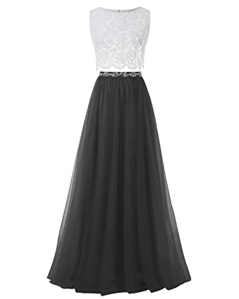 Bridesmay Long Tull Two Piece Prom Dress Bridesmaid Sleeveless Party
