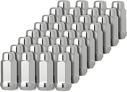ECCPP Wheel Lug Nuts 32 Pieces 2 Keys 14X1.5 Silver Thread Chrome Spline Lock Key Open End Lug Nuts for Cadillac//GMC//Jeep//Toyota 2003-2014