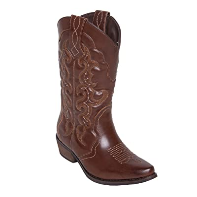 Lara's Womens Wide Calf Western Cowboy Cowgirl Country Boots   Mid-Calf