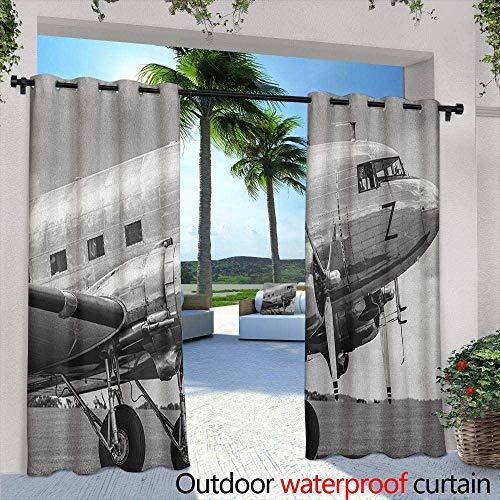 (Marilds Vintage Airplane Outdoor Window Curtains Old Airliner Cockpit Antique Engine Propellers Wings and Nostalgia Image Room Darkening Thermal 96