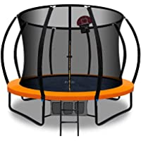 Trampoline 10FT with Safety Net Enclosure and Basketball Set Orange- Everfit