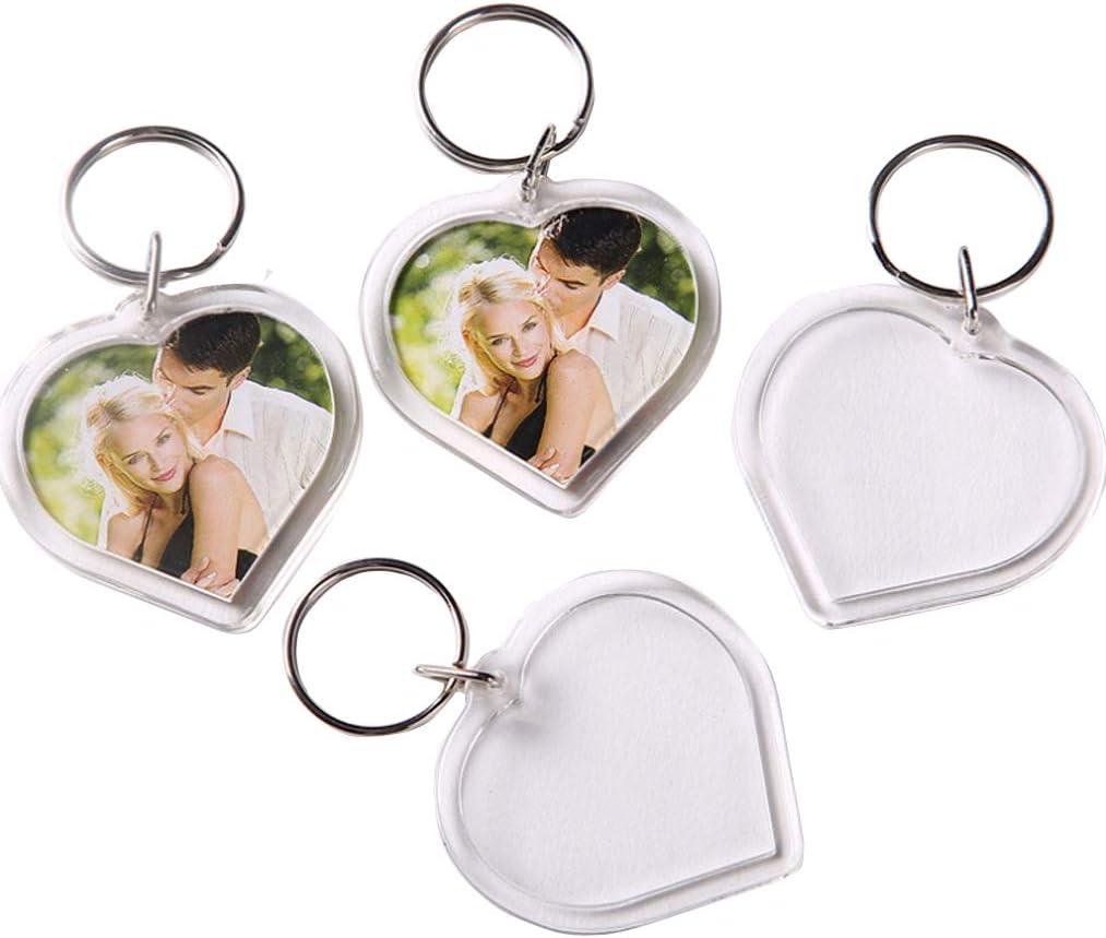 Acrylic Plastic Blank Clear Keyrings Heart Shape Photo inserting UK