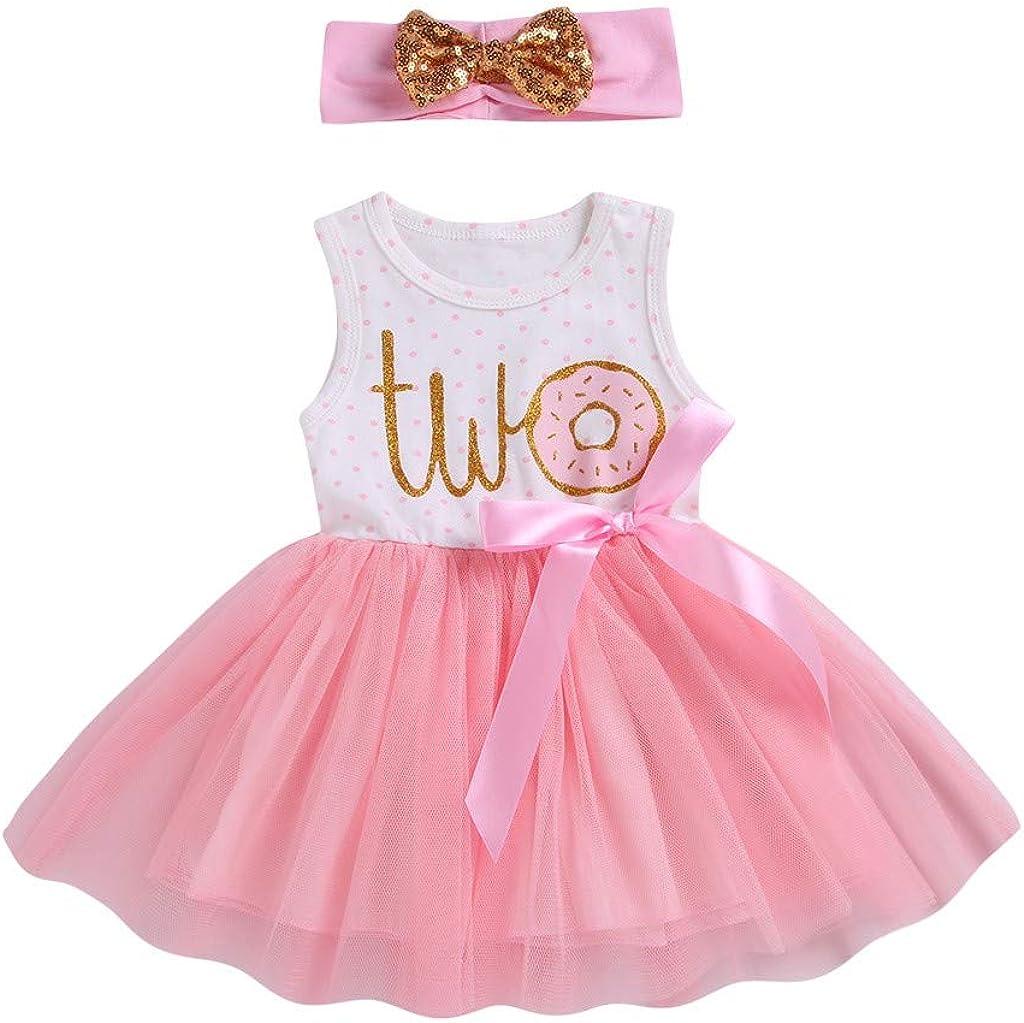 Sameno Fashion Toddler Baby Girls Letter Ribbons Bow Tutu Skirt Dress Hairband Sister Outfits