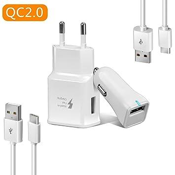 Axmda 4in1 Cable USB Tipo C 3ft/4ft + Cargador de Coche + Cargador de Pared, Cargador Rápida para Samsung Galaxy S8/S8Plus, Xiaomi Mi5/Mi6, Google ...