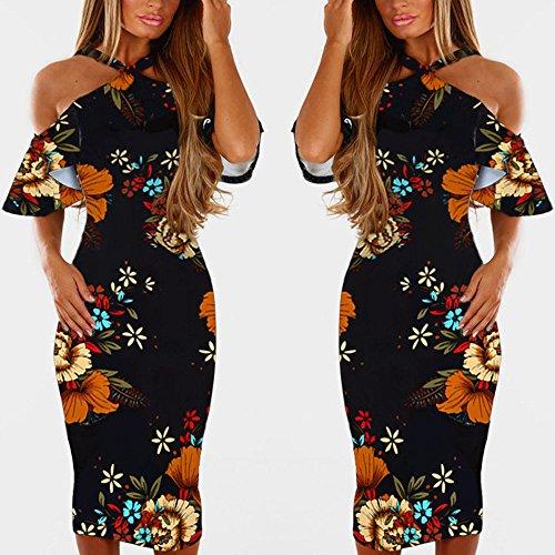 - NEARTIME Women's Casual Halter Dress Vintage Sexy Sleeveless Floral Print Backless Skirts Beach Princess Long Dress