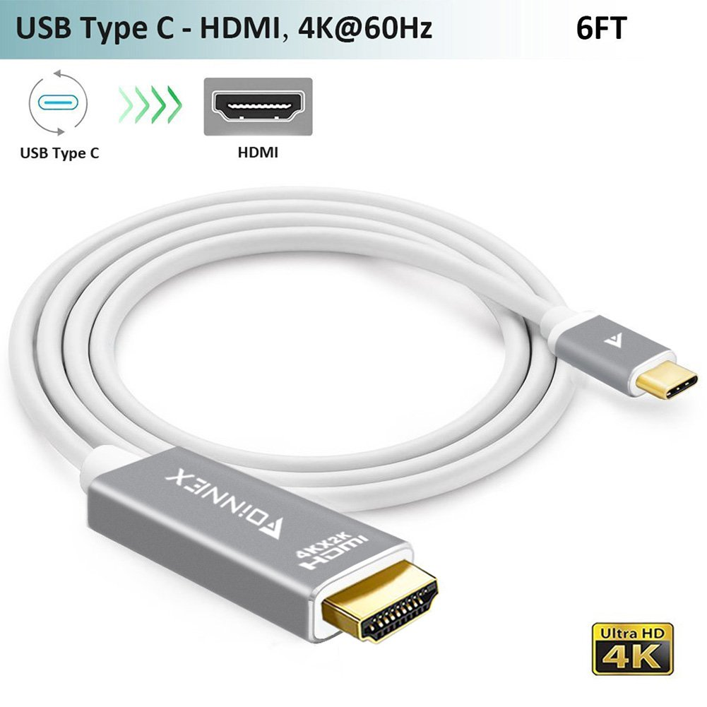 USB-C to HDMI Cable,(6ft,4K@60Hz),FOINNEX USB Type-C HDMI Adapter Cord (Thunderbolt 3) for 2017/2016 MacBook Pro,iMac,Surface Book 2,Galaxy S8/S8+/Note 8,Chromebook Pixel,Dell XPS 13/15 to TV/Monitor