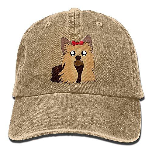 Qbeir Cute Yorkshire Terrier Adjustable Adult Cowboy Denim Hat Sunscreen Fishing Outdoors Retro Visor Cap]()
