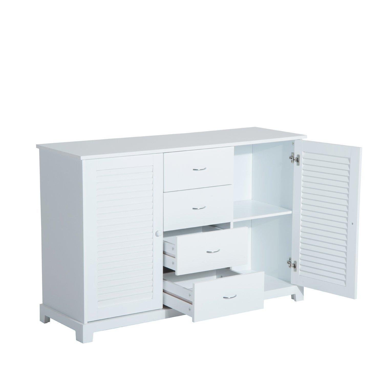 HomCom Armario para Baño o Entrada de Madera 2 Puertas y 4 Cajones - Color Blanco - 120x40x80cm