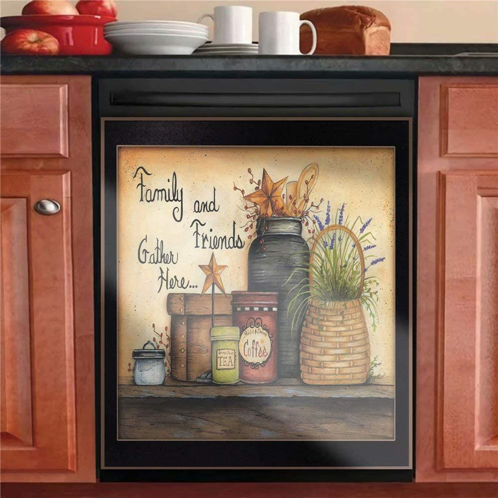 Country Family Dishwasher Magnet Cover Barn Star Sticker,Kitchen Decor Primitive Folk Art Refrigerator Magnetic Decal Panels,Fridge Door Cover,Home Appliances Decor Stickers 23