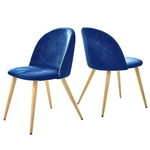 Kealive Velvet Dining Chairs Set of 2 Upholstered Soft Cushion Mid Century Modern Accent Leisure Chairs with Wood Grain Metal Legs for Living Room, Side Chairs Curved Back, Navy Blue