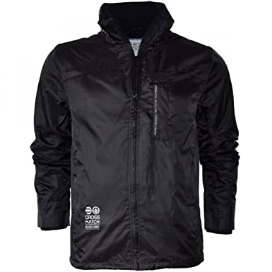 Crosshatch Winstons Designer Windbreaker Waterproof Jacket Coat Black Fleece Lined