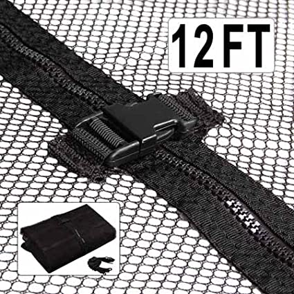 """Durable Black 12' Ft Trampoline Enclosure Safety Mesh Net 71"""" Height Replacement Screen Netting Zip Strap Buckle Closure Polyester Fabric for Home Jumper Bouncer Generic Brand"""