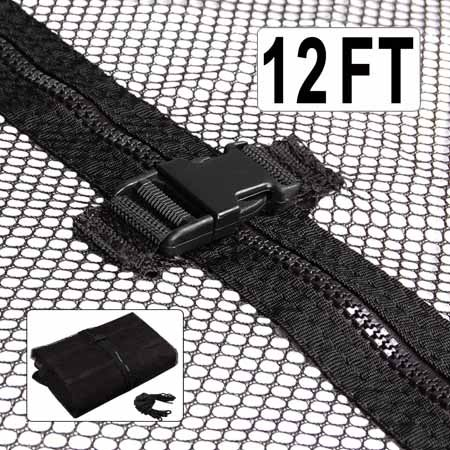 Black 12-foot Trampoline Enclosure Safety Mesh Net 71-inch Ht. Terylene Material Replacement Screen Netting Zipper Strap Buckle Closure for Home Jump Bounce Play
