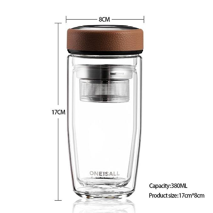 ZDZDZ - Botella de agua con infusor de té de cristal de ...