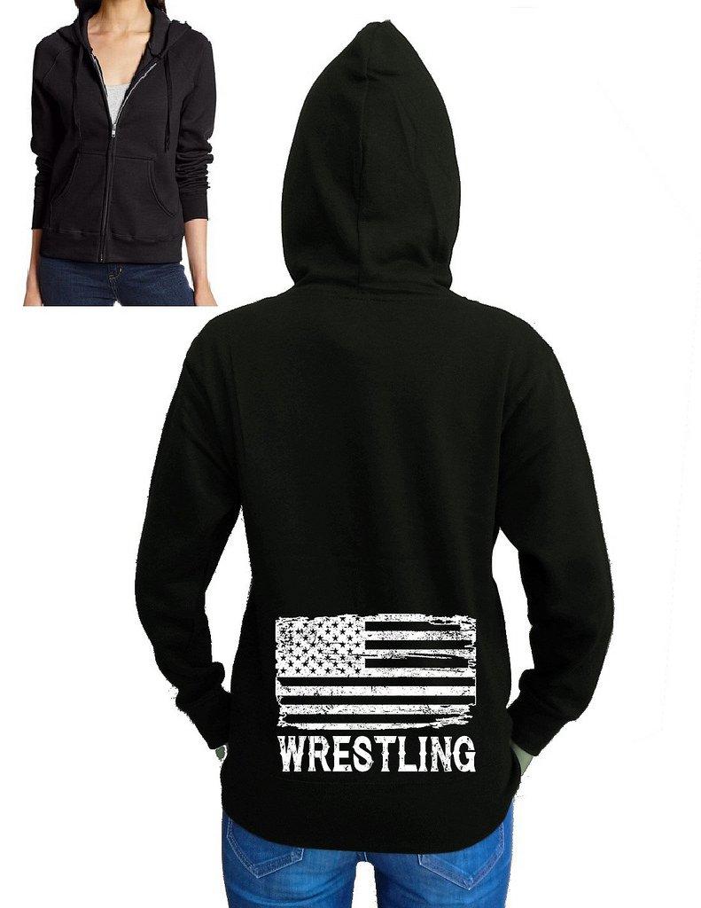 Interstate Apparel Junior's Wrestling American Flag Black Fleece Zipper Hoodie X-Large Black