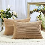 Miaote Pack of 2 Decorative Throw Pillow Covers Cases for Couch Bed Sofa,Striped Corduroy Velvet Cushion Covers for Baby, 16 X 24 Inches,Camel