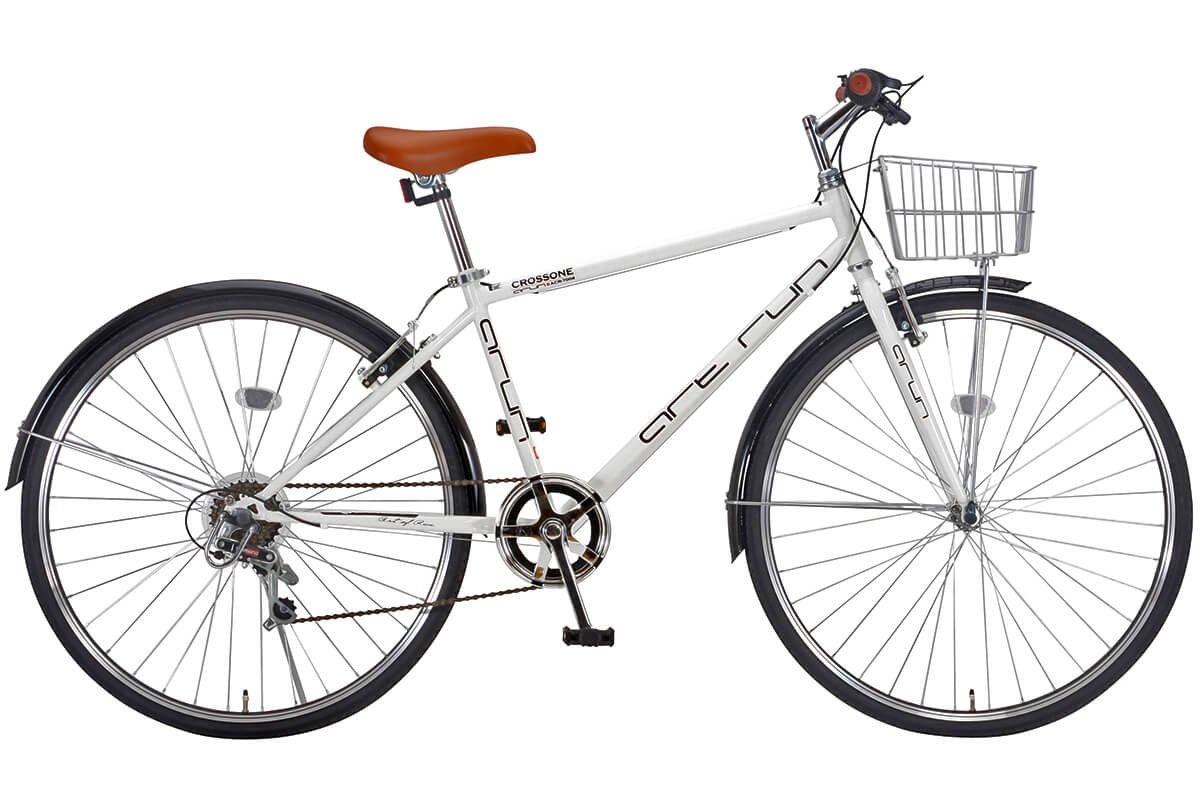 【完成車 組立済み】 ARUN (アラン) ACR-7006 クロスバイク カゴ付き (シマノ製 6段変速 LEDライト ワイヤーロック) ホワイト B01JE5L4ME
