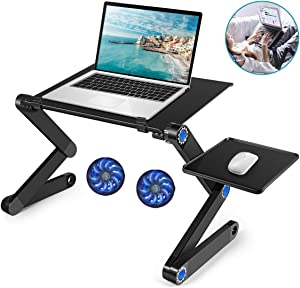 Laptop Table, Adjustable Laptop Bed Desk, Laptop Computer Stand, Portable Laptop Workstation Notebook Stand Reading Holder with 2 CPU Cooling Fans and Mouse Pad in Bed Couch Sofa Office