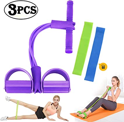 Foot Pedal Rope Resistance Exercise Yoga Bands Sit Up Fitness Pull Elastic Rope