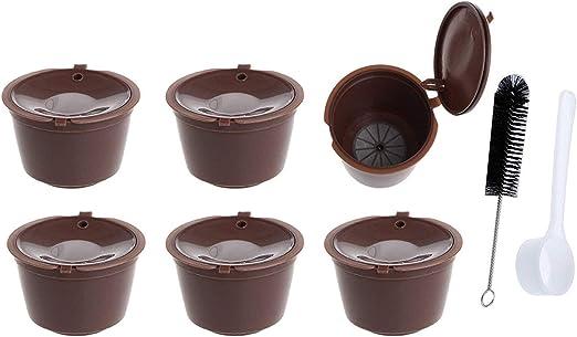 Genio Piccolo y Circolo paquete de 6 c/ápsulas de caf/é reutilizables con 1 cepillo de caf/é y 1 cuchara Poweka Dolce Gusto c/ápsulas recargables Esperta compatible con Mini Me