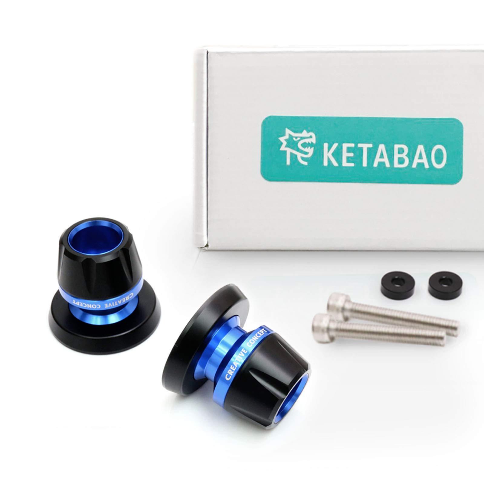 KETABAO Blue M8 Rear Swingarm Stand Spools Protectors For GSXR 1000 00-17 GSXR 600 750 GSX 1300 R V STROM 650 1000 04-17 by KETABAO