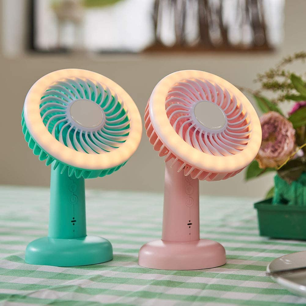 tlongtea65 USB Rechargeable Voice Control LED 3 Speed Handheld Fan for Office Home Travel Green