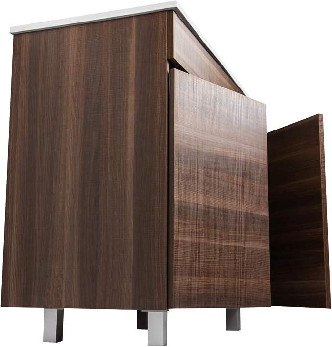 Crocket Mueble de Baño Luup + Lavabo Cerámico + Espejo - Cajones amortiguados - Acabado Melamina - Viene Montado - Tea - 60x60x45: Amazon.es: Hogar