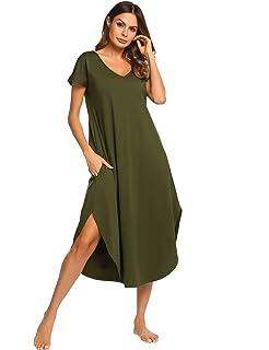 d4ccdcc509a3 Ekouaer Sleepwear Women's Casual V Neck Nightshirt Short Sleeve Long  Nightgown S-XXL