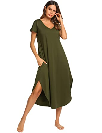 Ekouaer Nightwear Women s Sexy V Neck Sleepwear Soft Cotton Nightgown with  Side Split (Green 72a5d2d31