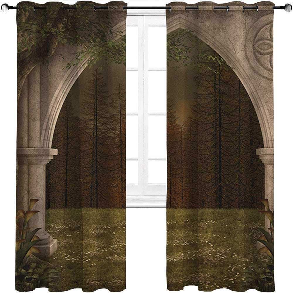 """carmaxshome Patio Curtains 96 inch Length, Gothic Custom Window Curtains - Old Retro Arch in The Garden Renaissance Meadow Forest Dark Scary Design Image Each 42"""" x 96"""", Green Beige"""