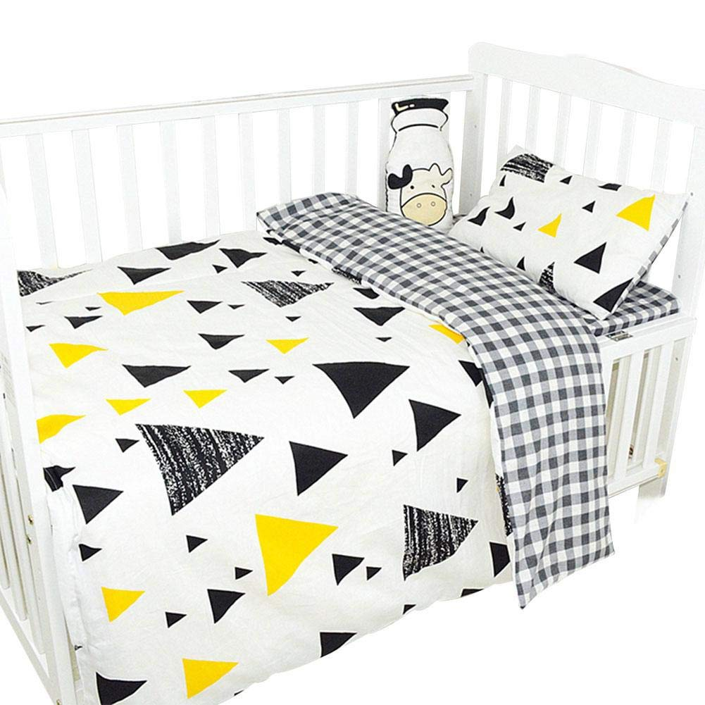 Baby Bedding 3-Piece Set Lovely Cartoon Pattern Pure Cotton Children Baby Crib Nursery Bed Sheet Quilt Cover Pillowcase Bedding Set for Children from 0-8 Years Old
