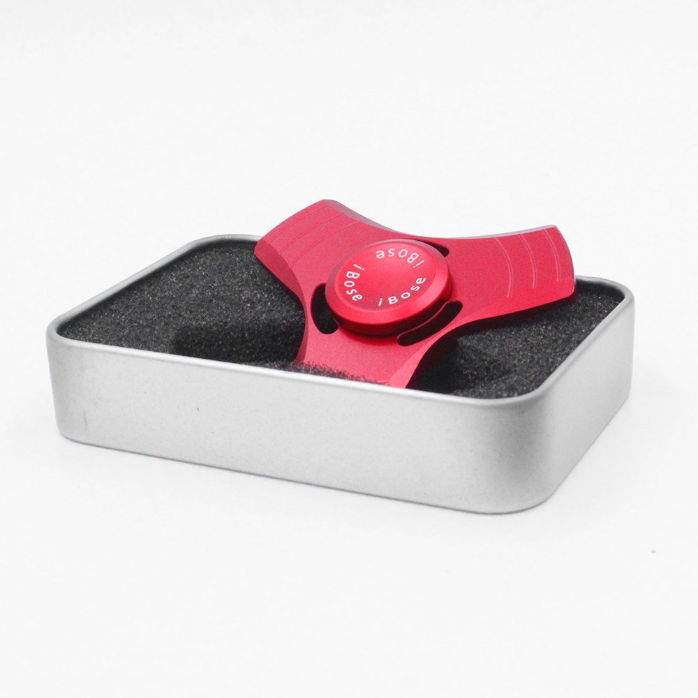 Fidget Spinner Toys With Metal Bearing Anti Anxiety for Adult Children Kids Figit Mini Tri Spinners Helps Focusing Figets Toys EDC Focus Toy Hands Spinner Fidgit Cube Light Pack Set (Metal-Red)