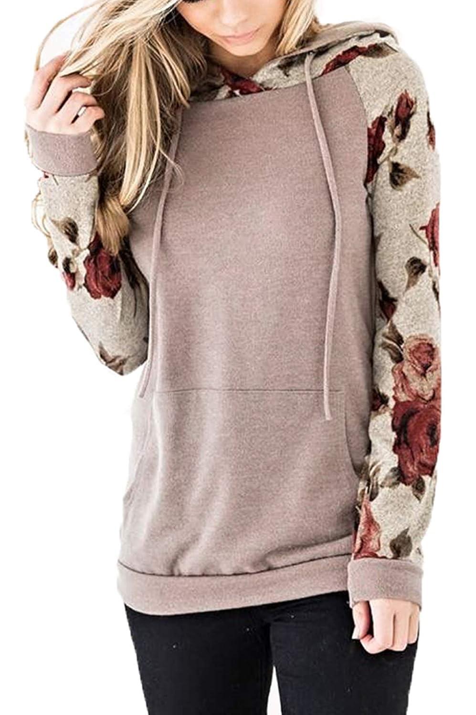 Helury Womens Sweatshirt Floral Printed Hoodie Long Sleeve Tunic Top with Pocket
