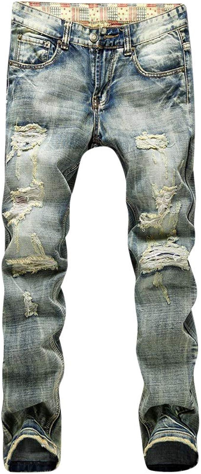 LANSKIRT_Pantalones Vaquero Hombre Slim Pantalones de Trabajo de ...