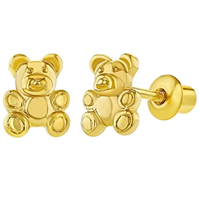 18k Gold Plated Little Teddy Bear Screw Back Earrings for Toddlers and Little Girls mT3hUE