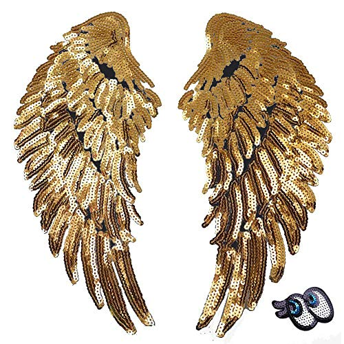 (LoveInUSA 2 PCS Gold Sequins Angel Wings DIY Embroidered Iron-on Patch Applique for Cloth Decoration Valentine's Day Gifts (Sequin Eye for Free))