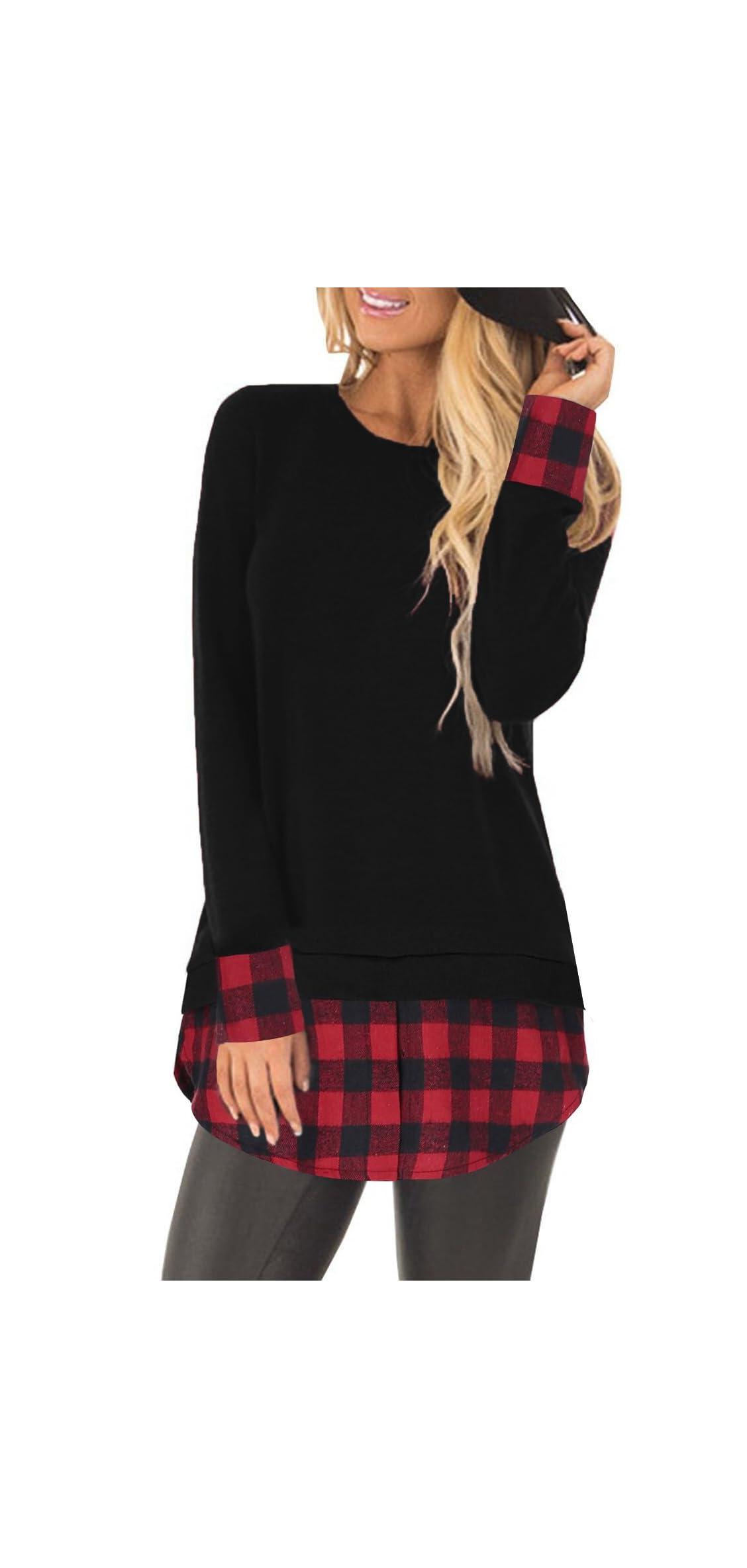 Women's Plaid Shirts Long Sleeve Tees Flannel Crew Neck