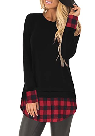 f27cffa8 SUNNYME Women's Long Sleeves Plaid Shirts Blouses Crew Neck Tunic Loose Fit  Tops Black S