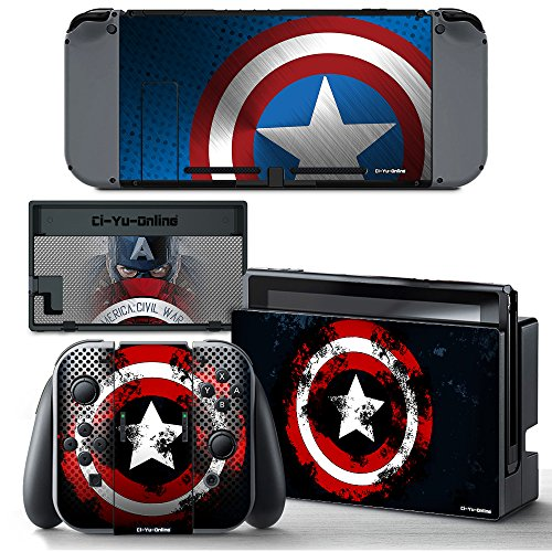 Ci-Yu-Online VINYL SKIN [NS] Captain America STICKER DECAL COVER for Nintendo Switch Console and Joy-Con Controllers
