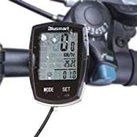 Cycle Computer With Waterproof Touch Mode 22 Functions Large Screen Display with Green Backlight Wired LCD Smart Odometer Bike Computer