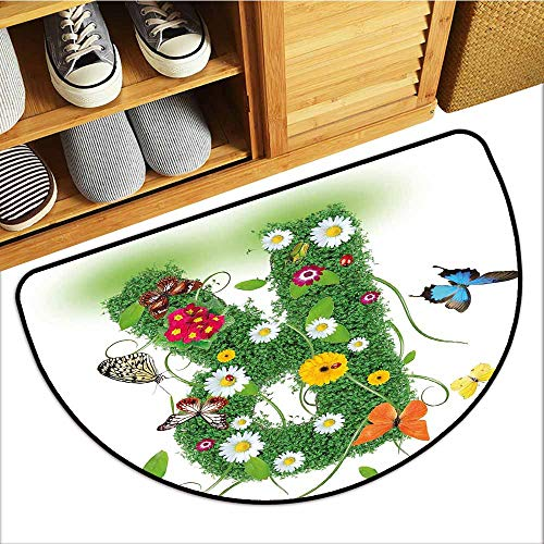Custom&blanket Universal Door Mat, Letter R Non-Slip Doormats for Bedroom, Uppercase R with Flora and Fauna Wildflowers Daisies Butterflies and Grass (Green Multicolor, H24 x D36 Semicircle)