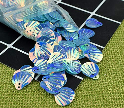 (HATCHMATIC 40 Colorful Shell Sequins for UV Epoxy Filler Resin Pendant Necklace Jewelry Making Craft DIY Accessories: Blue)