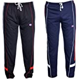VIMAL Black and Navy Blue Men's Cotton Trackpants (Pack of 2)